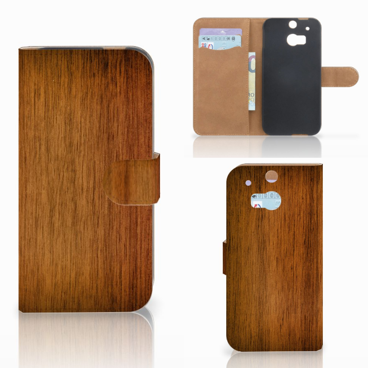 HTC One M8 Book Style Case Donker Hout