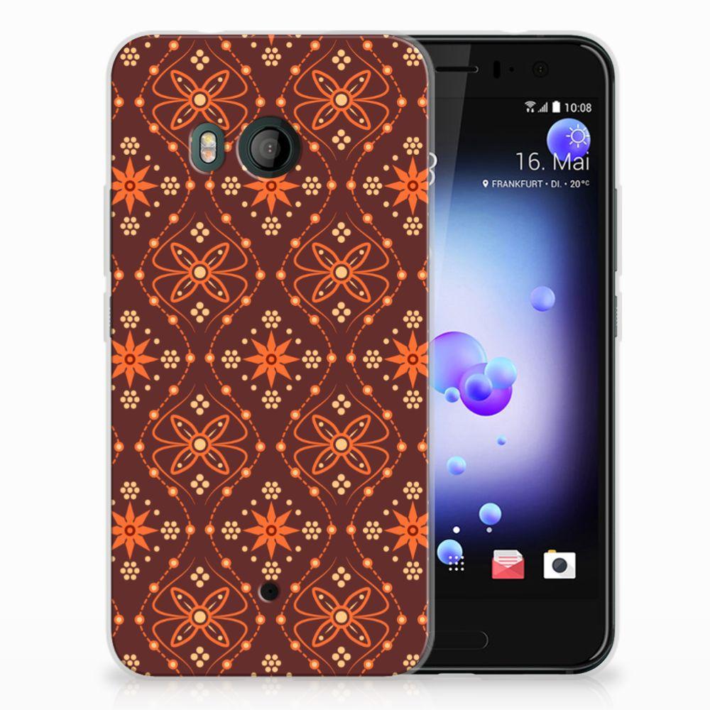 HTC U11 Uniek TPU Hoesje Batik Brown