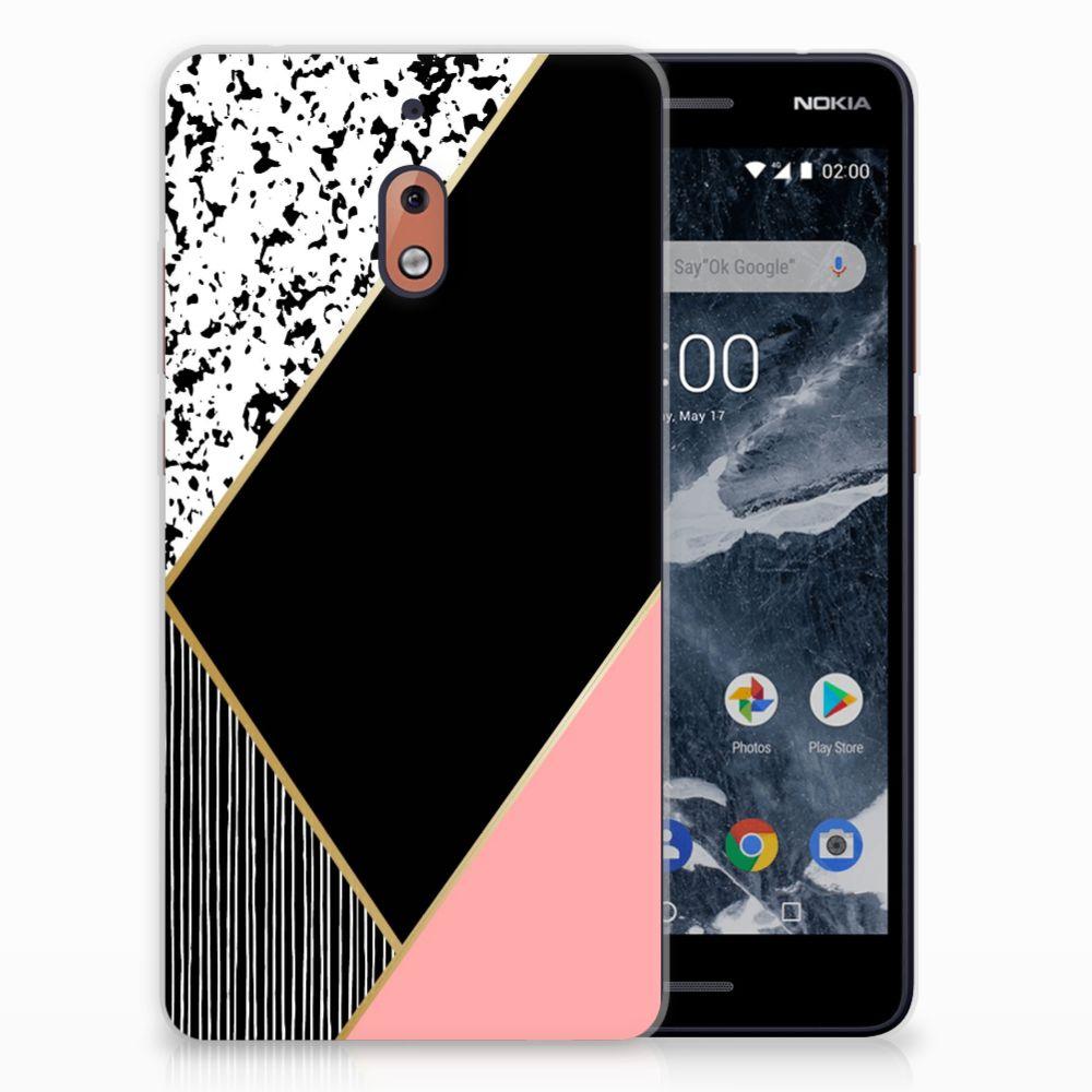 Nokia 2.1 (2018) Uniek TPU Hoesje Black Pink Shapes