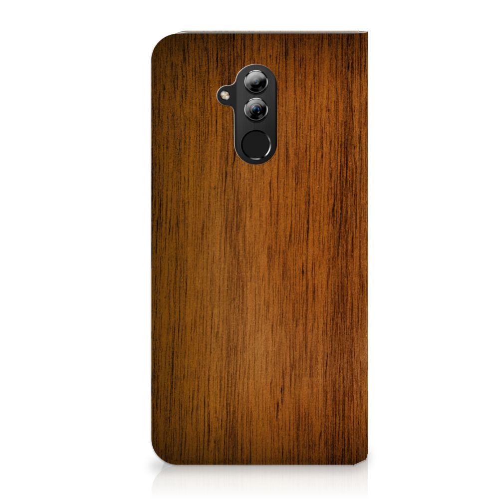 Huawei Mate 20 Lite Uniek Standcase Hoesje Donker Hout