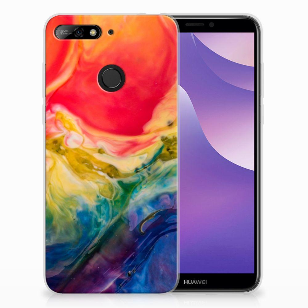 Huawei Y6 (2018) Uniek TPU Hoesje Watercolor Dark