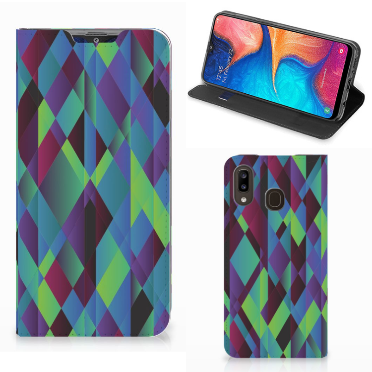 Samsung Galaxy A30 Stand Case Abstract Green Blue