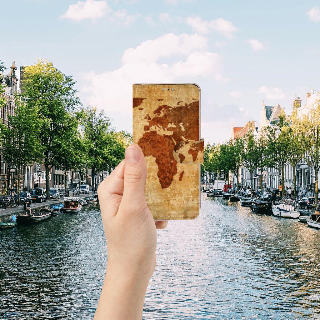 Huawei P30 Lite (2020) Flip Cover Wereldkaart