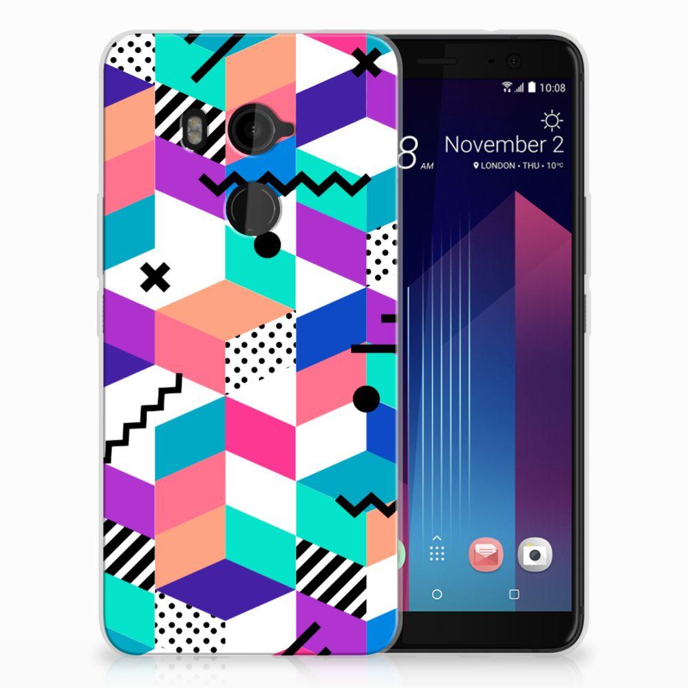 HTC U11 Plus TPU Hoesje Blokken Kleurrijk