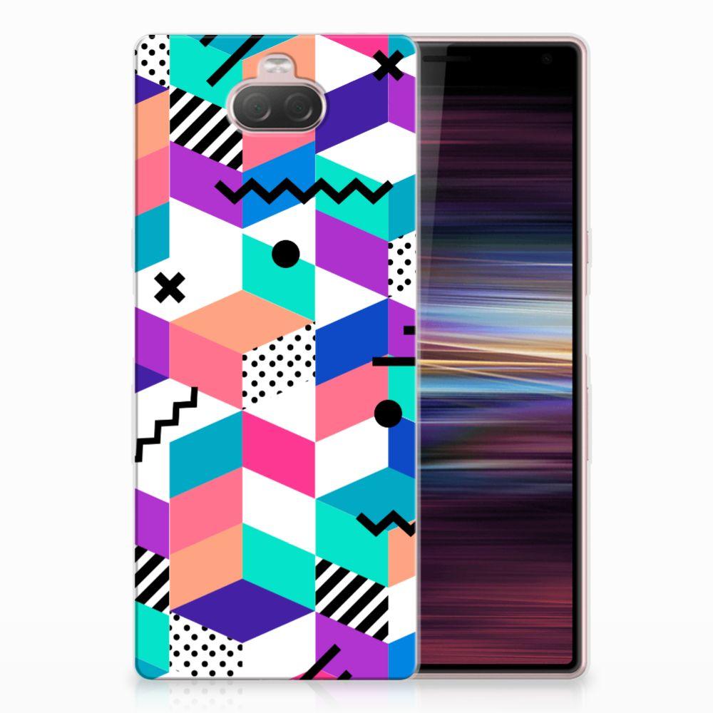 Sony Xperia 10 TPU Hoesje Blokken Kleurrijk