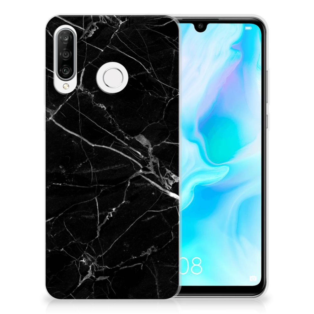 Huawei P30 Lite TPU Siliconen Hoesje Marmer Zwart