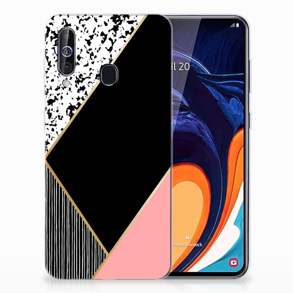 Samsung Galaxy A60 TPU Hoesje Zwart Roze Vormen