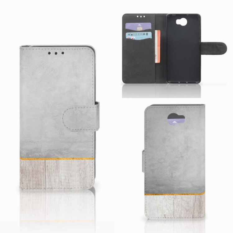 Huawei Y5 2 | Y6 II Compact Book Style Case Wood Concrete