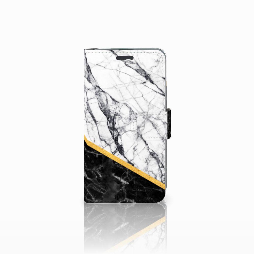 Acer Liquid Z520 Uniek Boekhoesje Marble White Black