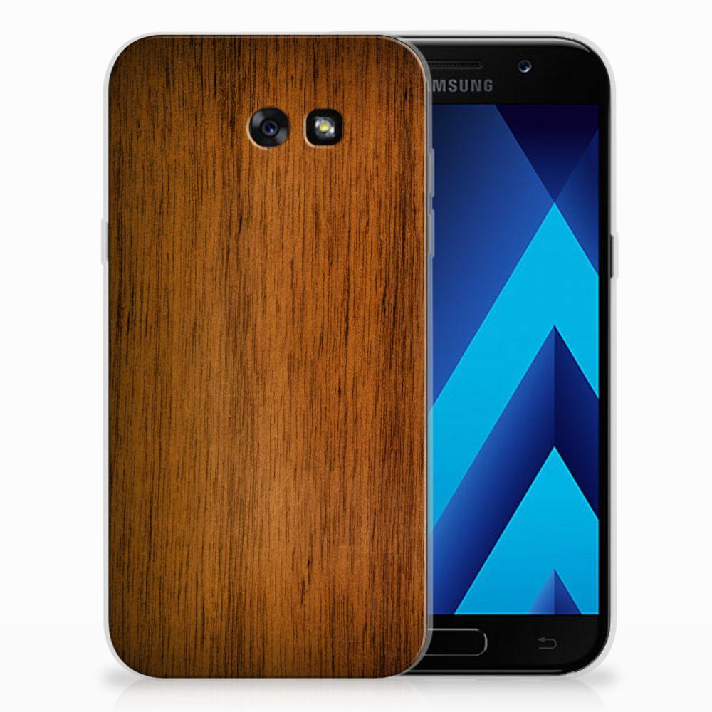 Samsung Galaxy A7 2017 Uniek TPU Hoesje Donker Hout