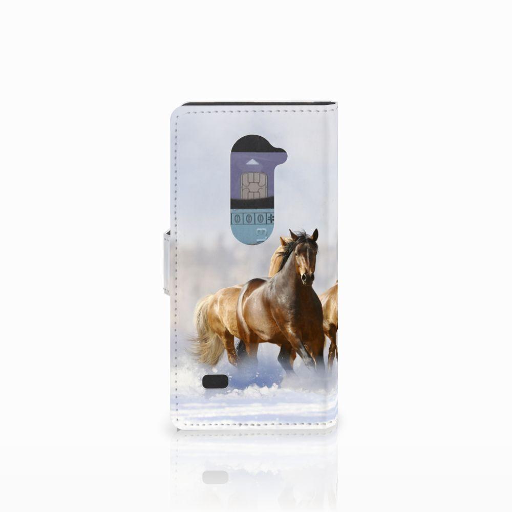 LG Leon 4G Telefoonhoesje met Pasjes Paarden