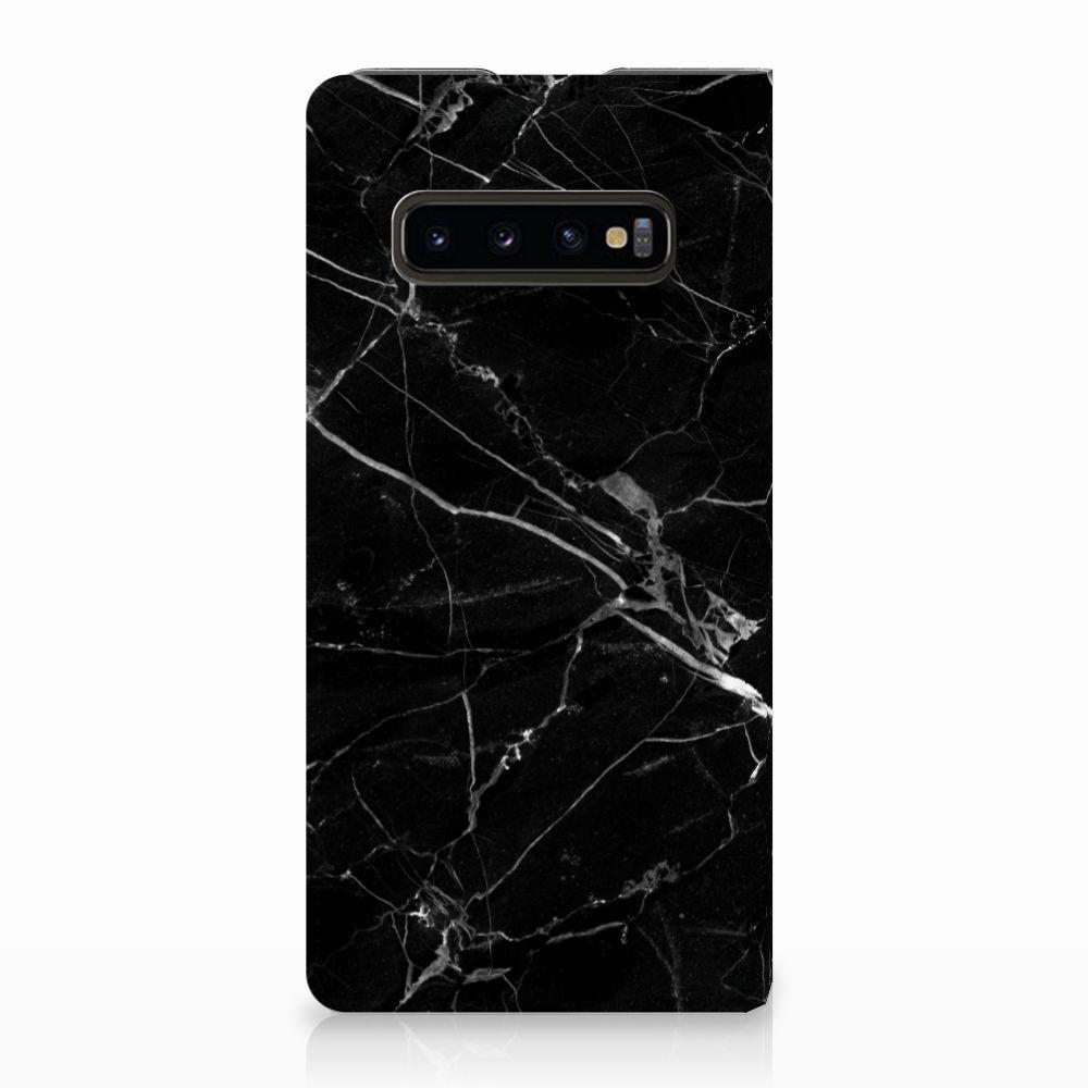 Samsung Galaxy S10 Plus Uniek Standcase Hoesje Marmer Zwart