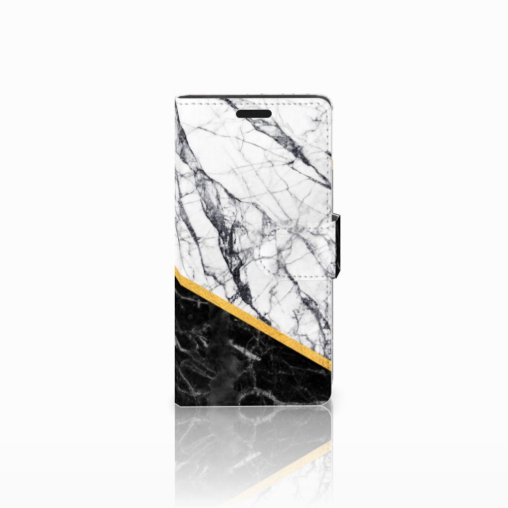 LG Leon 4G Uniek Boekhoesje Marble White Black