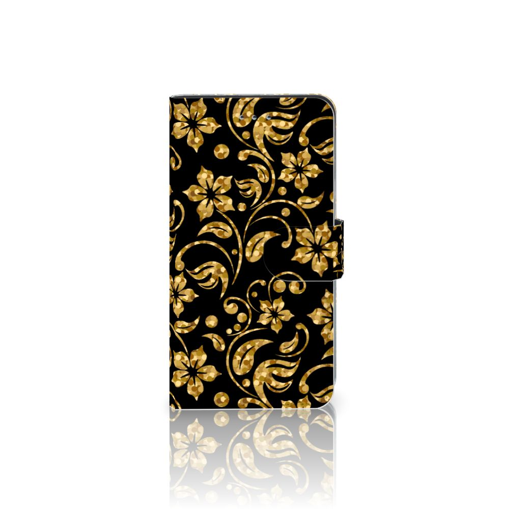 Samsung Galaxy J4 2018 Boekhoesje Design Gouden Bloemen