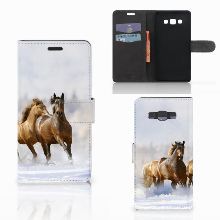 Samsung Galaxy A7 2015 Telefoonhoesje met Pasjes Paarden