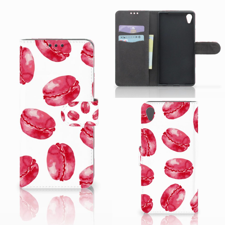 Sony Xperia Z5 Premium Book Cover Pink Macarons