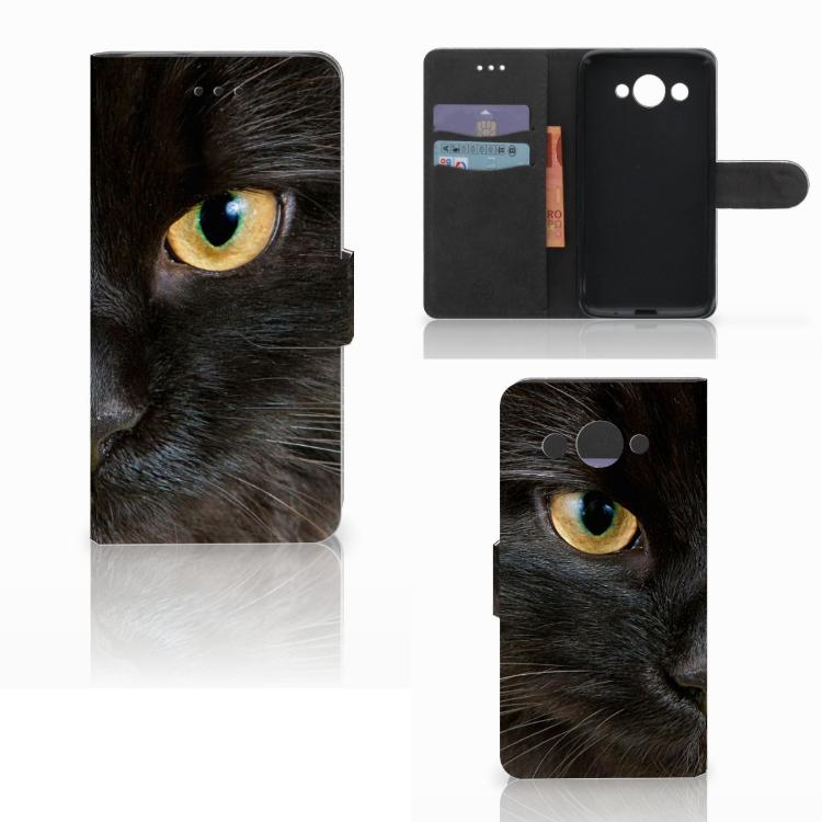 Huawei Y3 2017 Telefoonhoesje met Pasjes Zwarte Kat