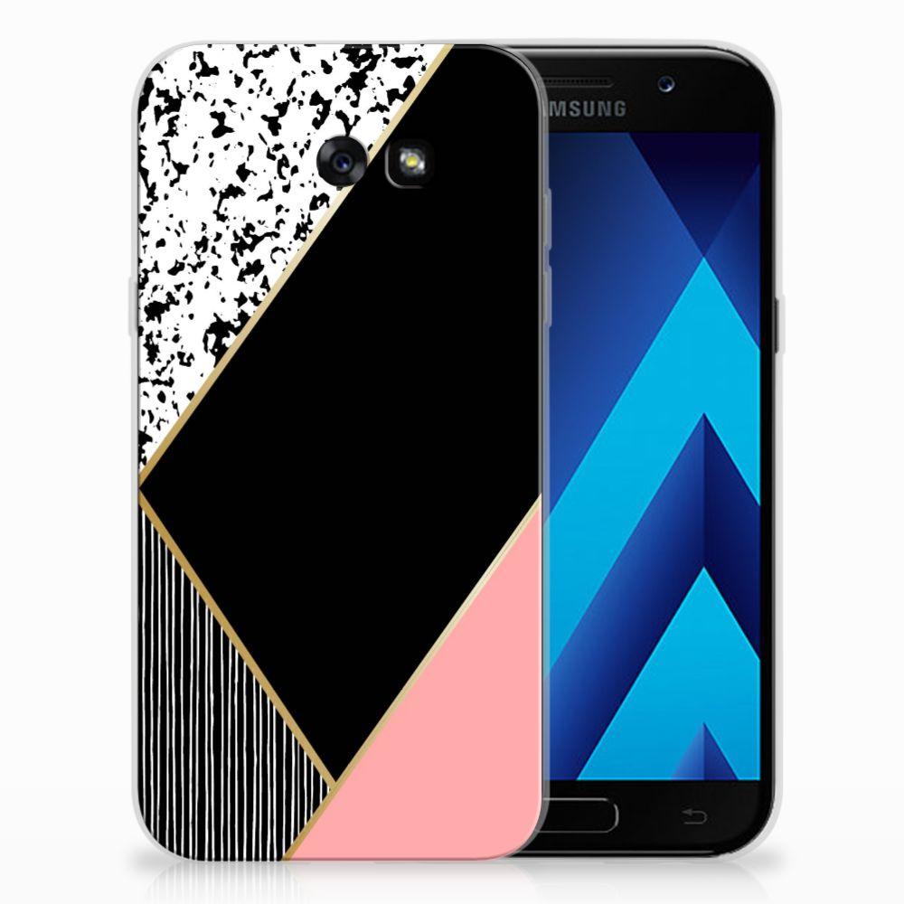Samsung Galaxy A7 2017 Uniek TPU Hoesje Black Pink Shapes