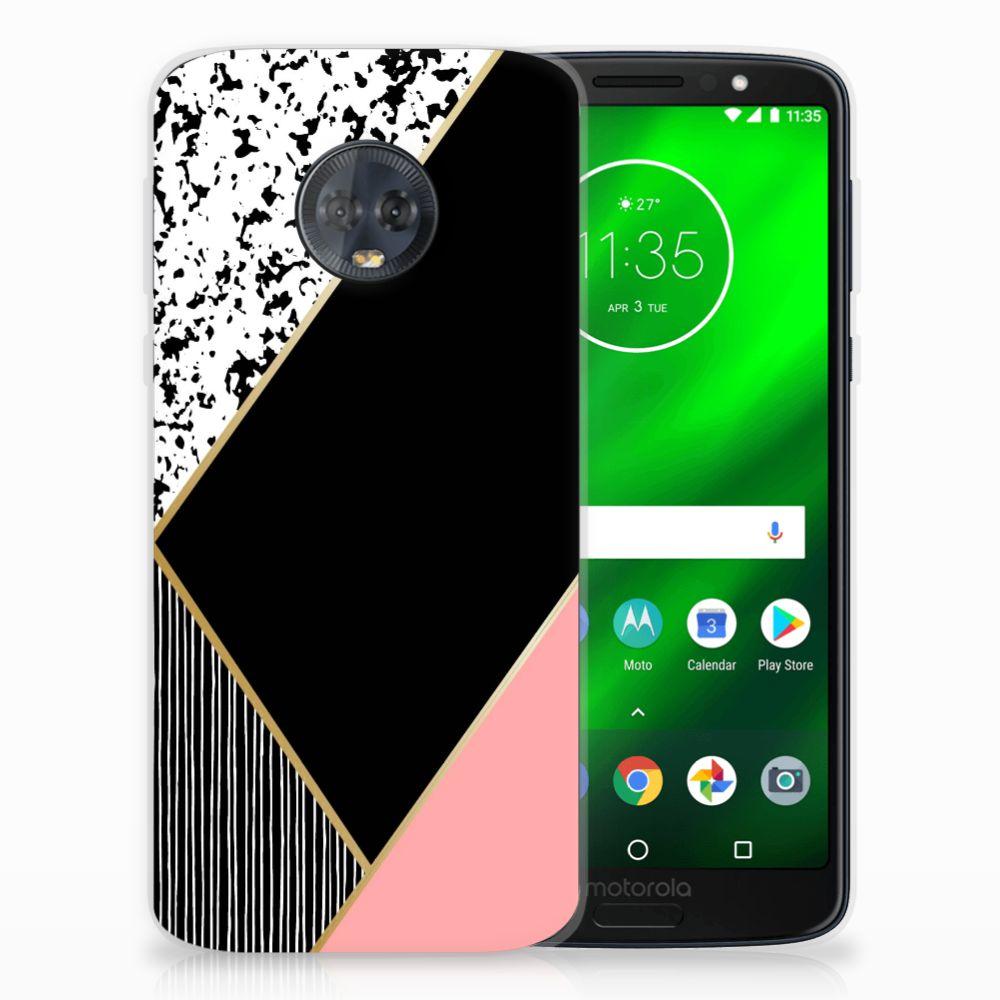 Motorola Moto G6 Plus Uniek TPU Hoesje Black Pink Shapes