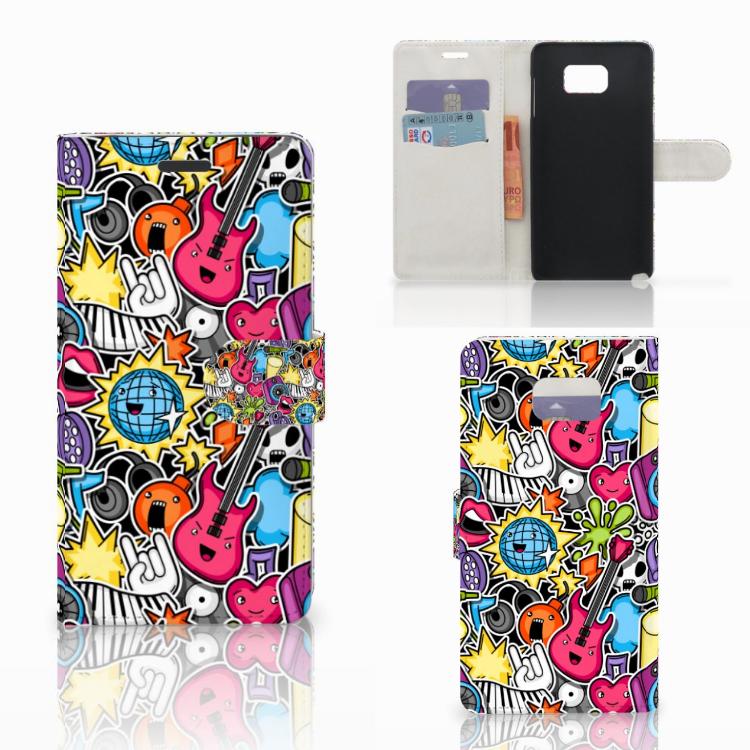 Samsung Galaxy Note 5 Wallet Case met Pasjes Punk Rock