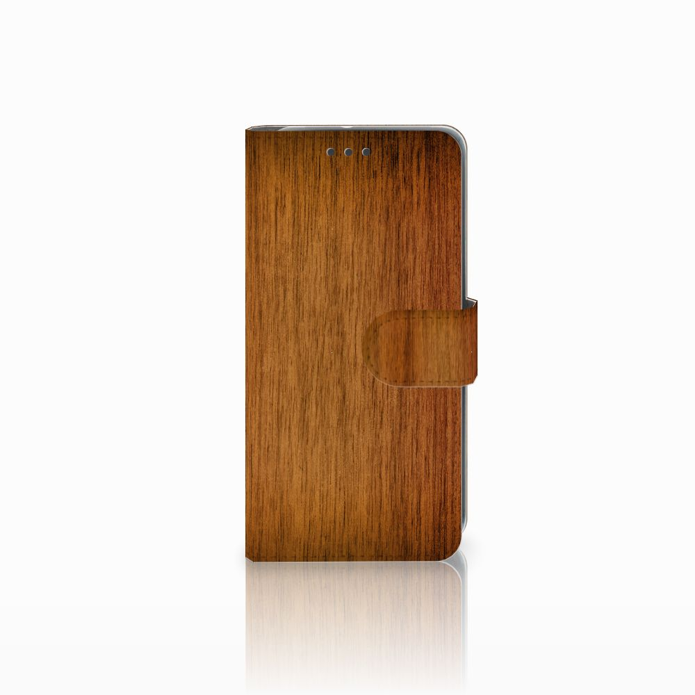 HTC U11 Life Uniek Boekhoesje Donker Hout