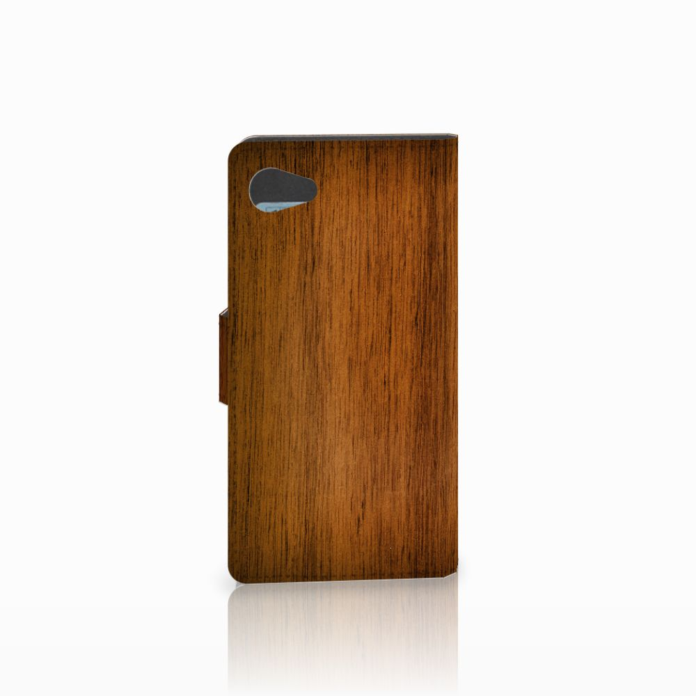Sony Xperia Z5 Compact Book Style Case Donker Hout