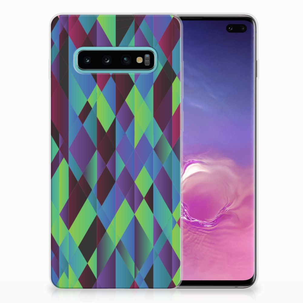 Samsung Galaxy S10 Plus TPU Hoesje Abstract Green Blue
