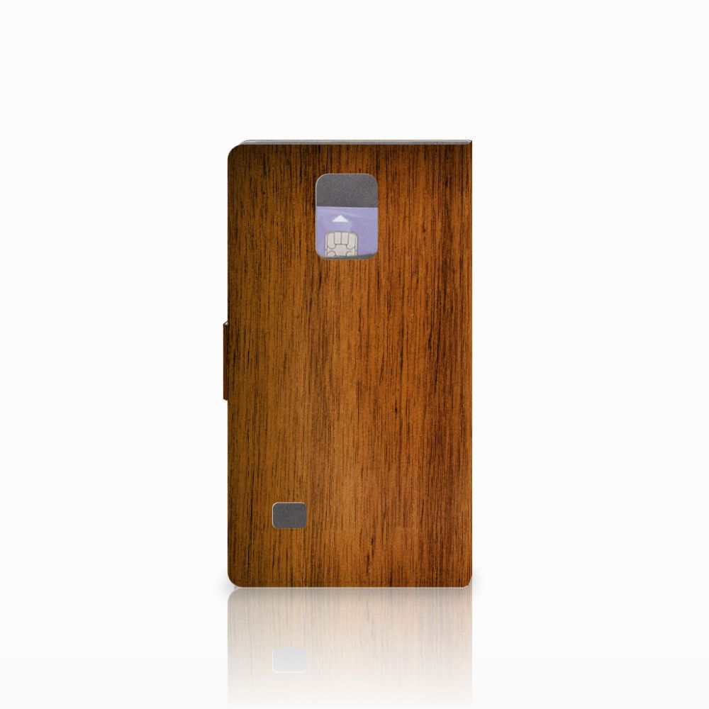 Samsung Galaxy Note 4 Book Style Case Donker Hout