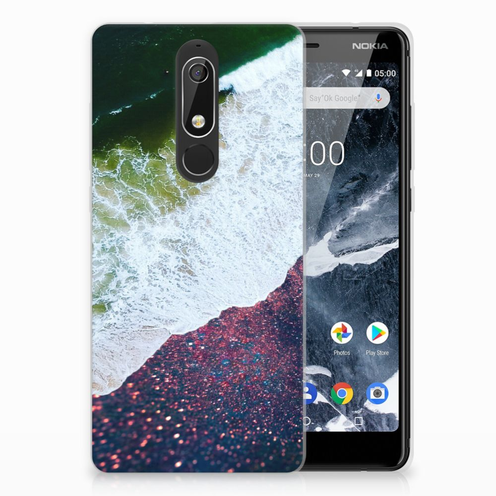 Nokia 5.1 (2018) TPU Hoesje Design Sea in Space