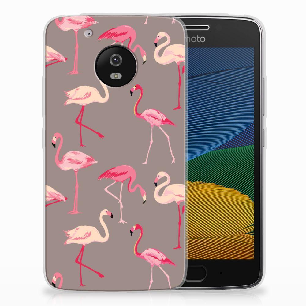 Motorola Moto G5 Uniek TPU Hoesje Flamingo