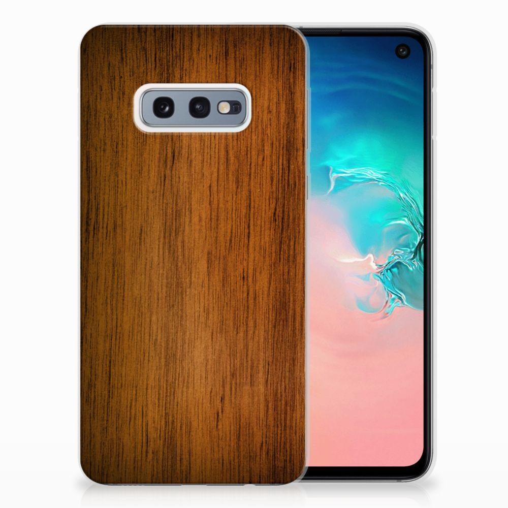 Samsung Galaxy S10e Uniek TPU Hoesje Donker Hout