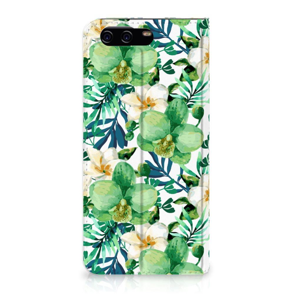 Huawei P10 Uniek Standcase Hoesje Orchidee Groen