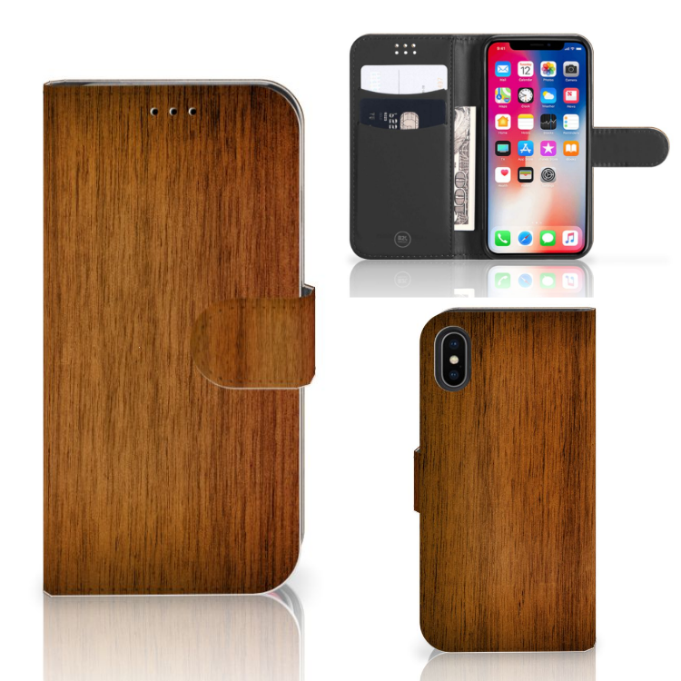 Apple iPhone X | Xs Book Style Case Donker Hout