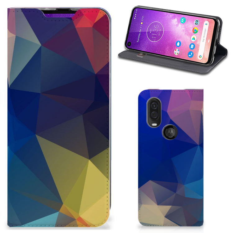 Motorola One Vision Stand Case Polygon Dark