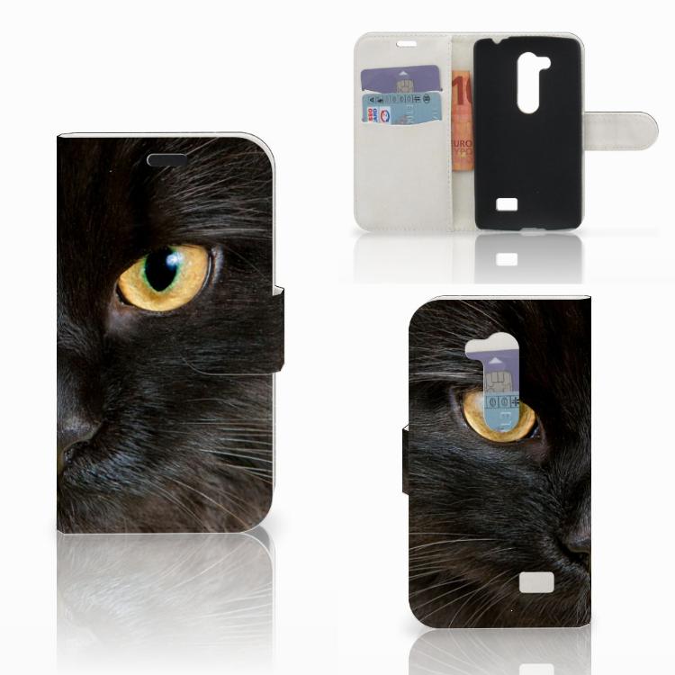 LG L Fino Telefoonhoesje met Pasjes Zwarte Kat
