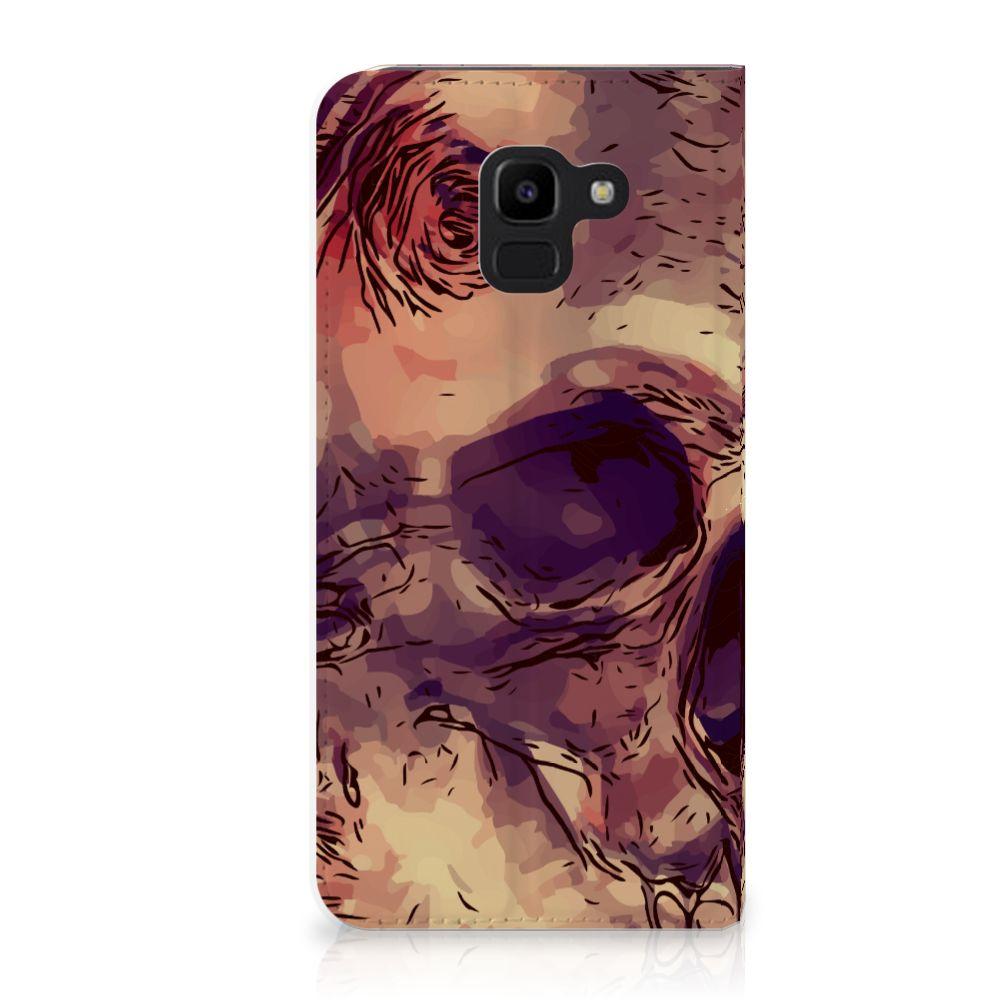 Samsung Galaxy J6 (2018) Uniek Standcase Hoesje Skullhead