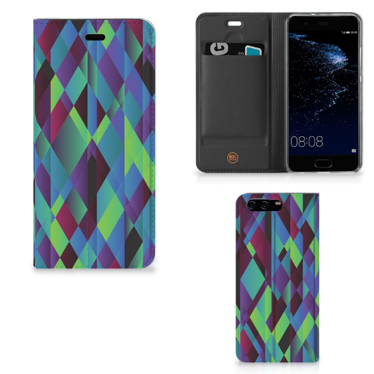 Huawei P10 Stand Case Abstract Green Blue