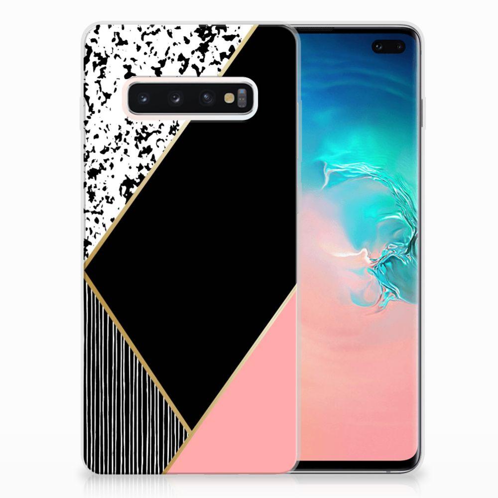 Samsung Galaxy S10 Plus TPU Hoesje Zwart Roze Vormen