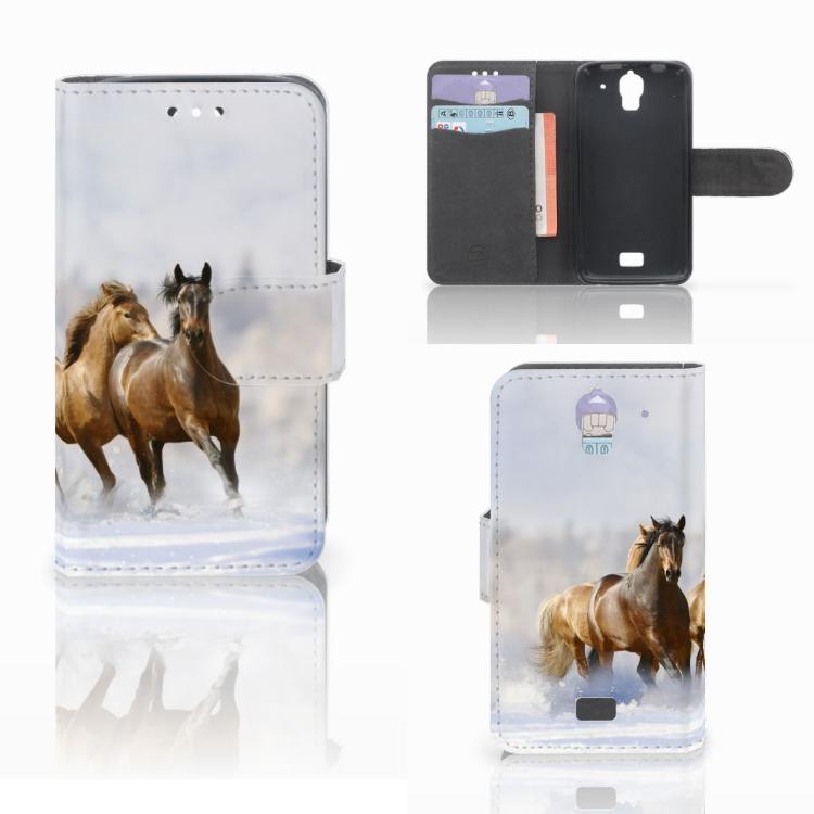 Huawei Y360 Telefoonhoesje met Pasjes Paarden