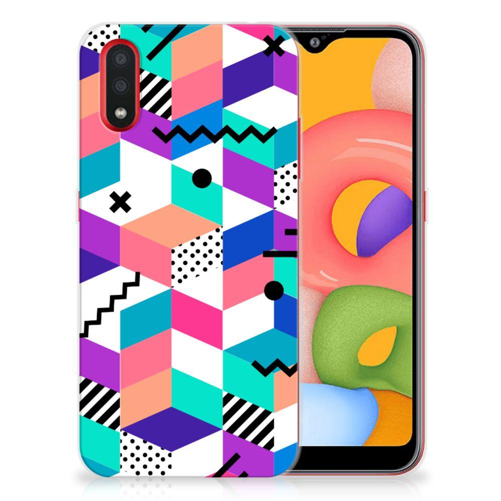 Samsung Galaxy A01 TPU Hoesje Blokken Kleurrijk