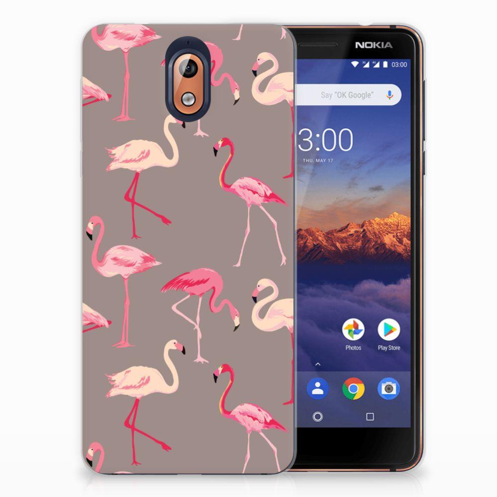 Nokia 3.1 (2018) Uniek TPU Hoesje Flamingo