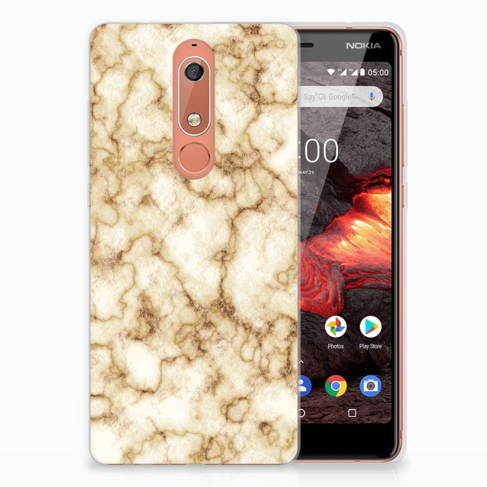 Nokia 5.1 (2018) TPU Siliconen Hoesje Marmer Goud