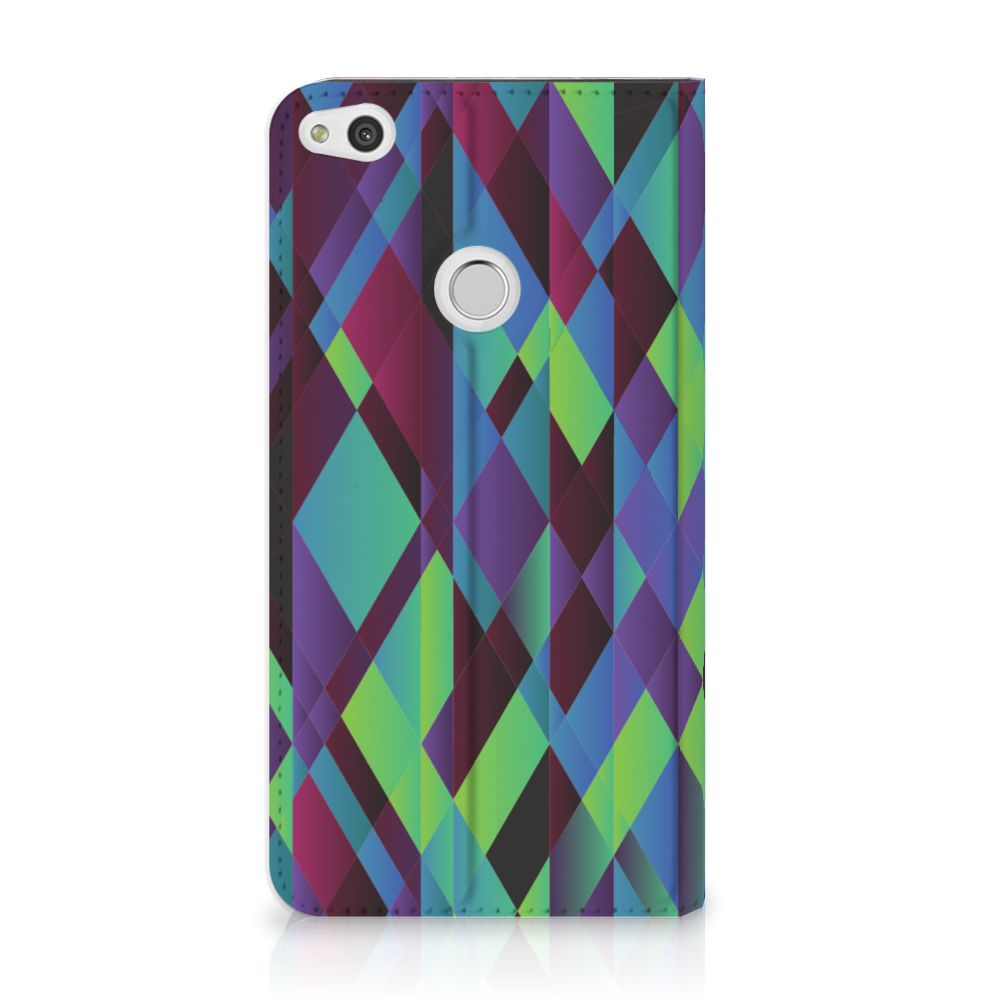 Huawei P8 Lite 2017 Standcase Hoesje Design Abstract Green Blue