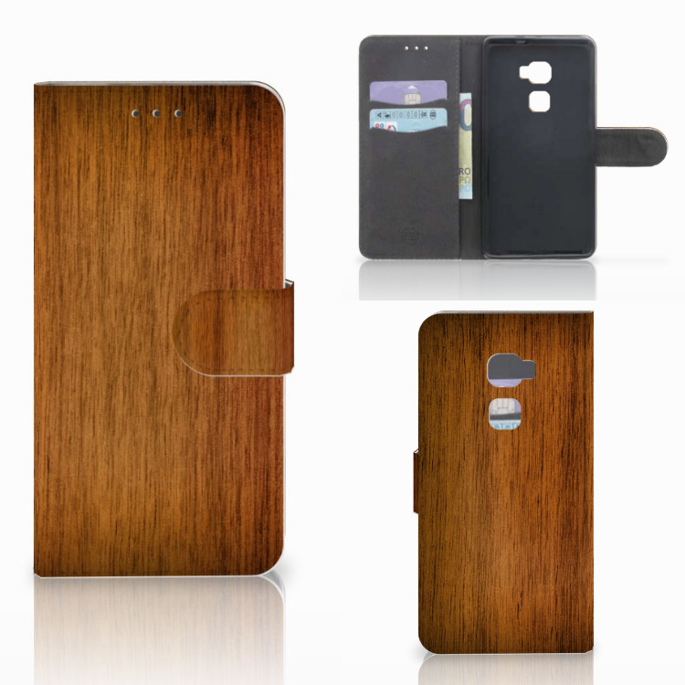 Huawei Mate S Book Style Case Donker Hout
