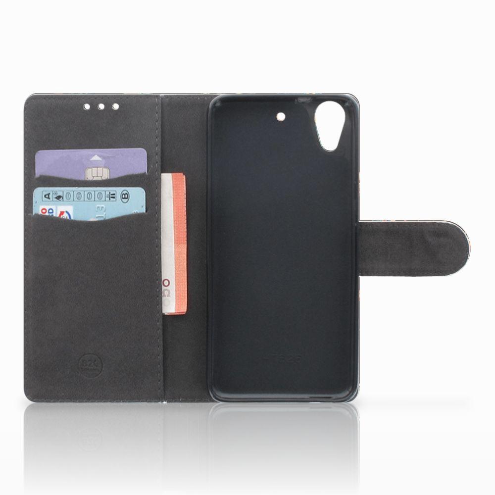 HTC Desire 626 | Desire 626s Telefoonhoesje met Pasjes Pauw met Bloemen