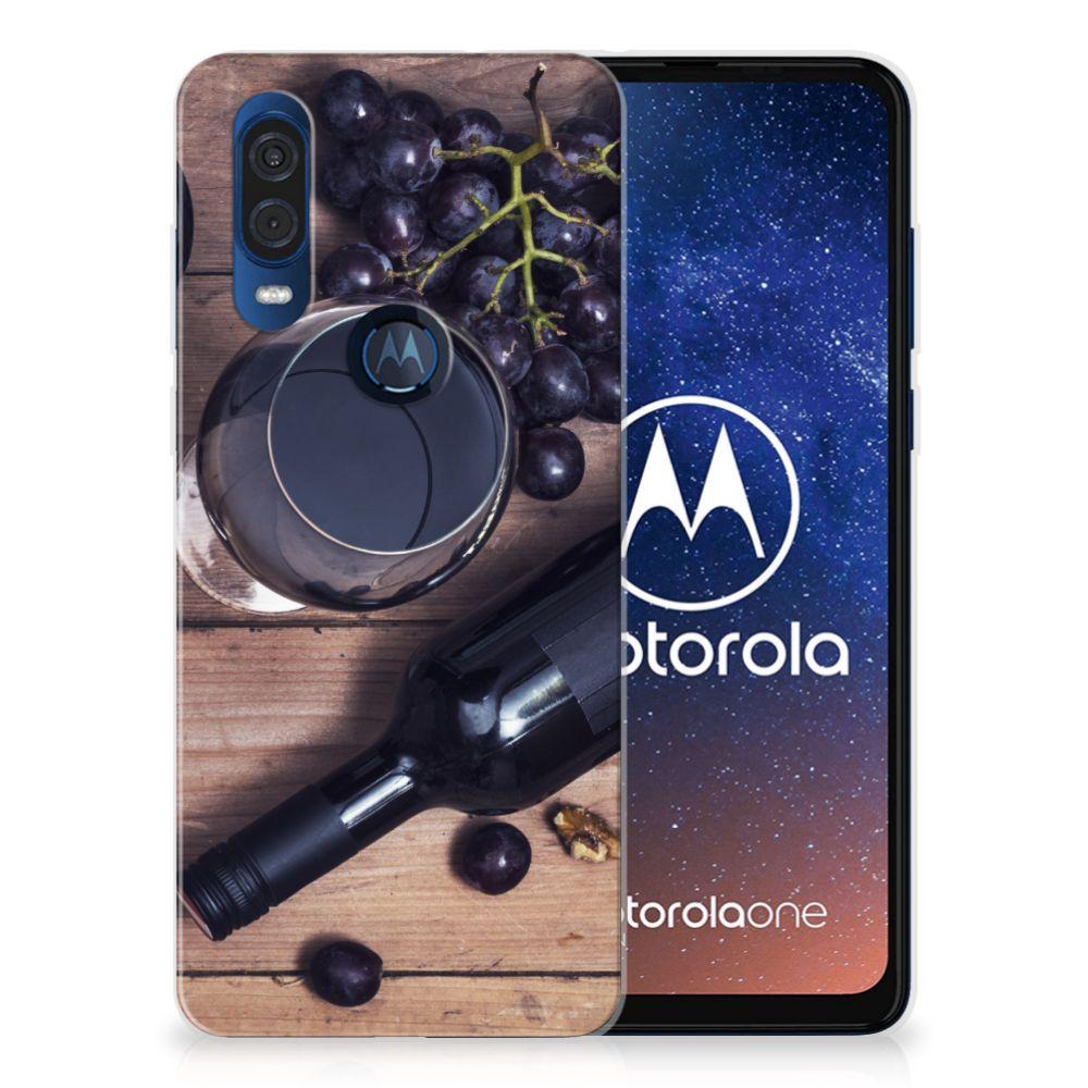 Motorola One Vision Siliconen Case Wijn