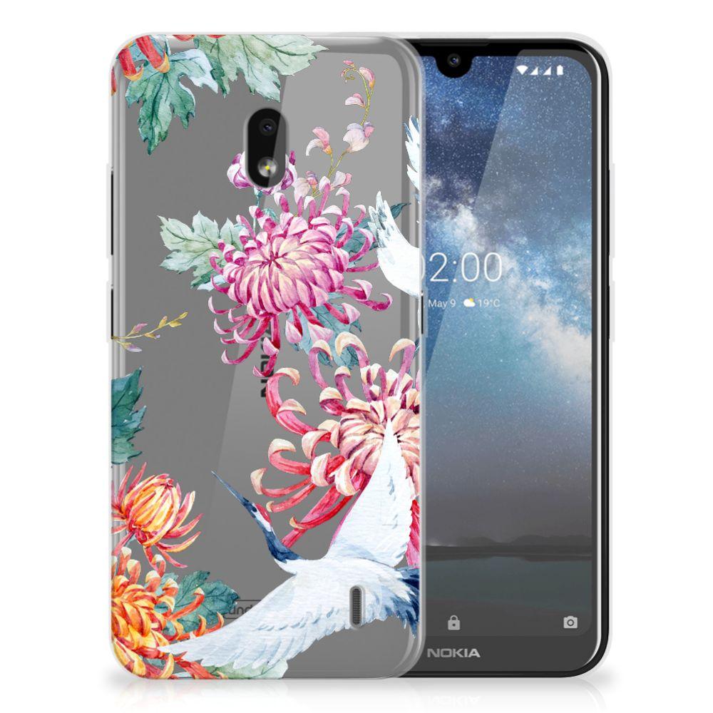 Nokia 2.2 TPU Hoesje Bird Flowers