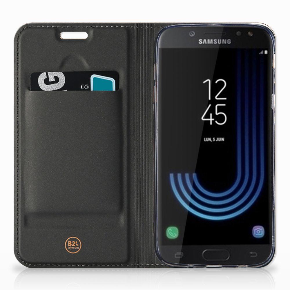 Samsung Galaxy J5 2017 Uniek Standcase Hoesje Donker Hout