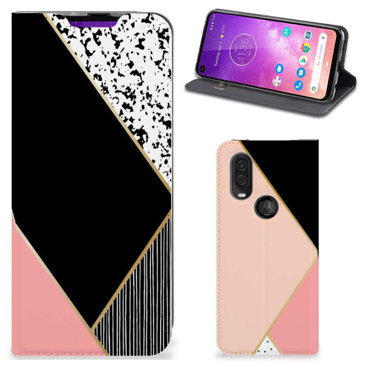 Motorola One Vision Stand Case Zwart Roze Vormen