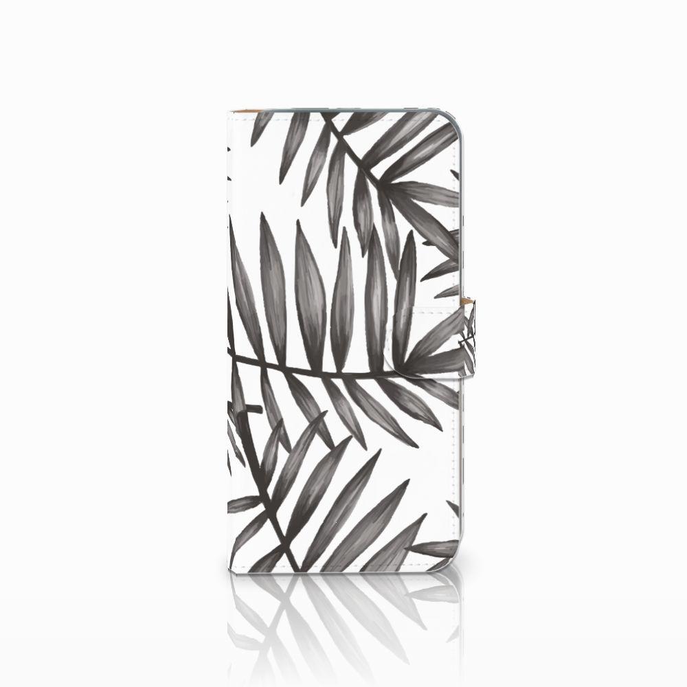 HTC Desire 10 Pro Uniek Boekhoesje Leaves Grey